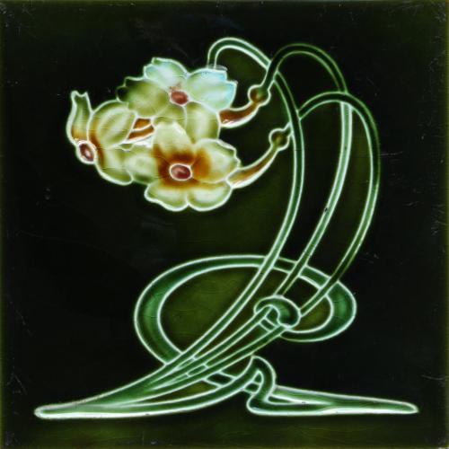 c.1900 English Art Nouveau Triple Flower Tile, Henry Richards #2
