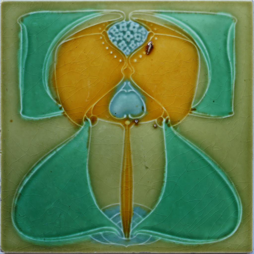 c.1905 English Art Nouveau Floral Tile, Possibly Corn Brothers