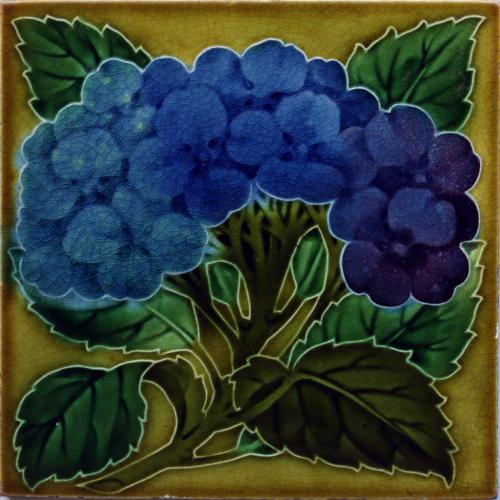 c.1900 English Art Nouveau Floral Relief Tile, Pilkington