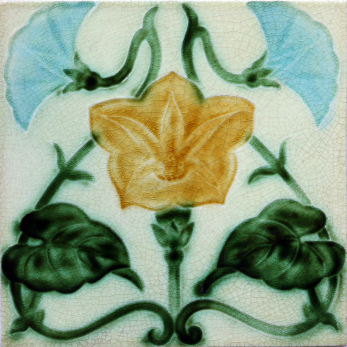 c.1910 English Art Nouveau Floral Relief Tile