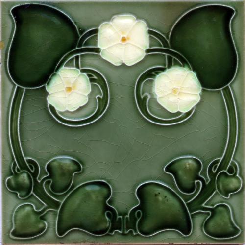 c.1900 English Art Nouveau Floral Relief Tile, Henry Richards #3