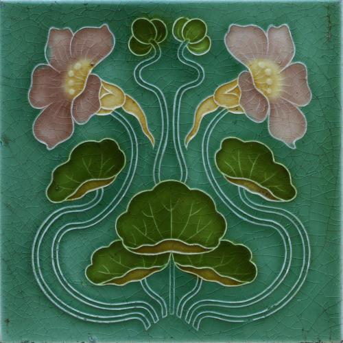 c.1900 English Art Nouveau Floral Relief Tile, Gibbons Hinton
