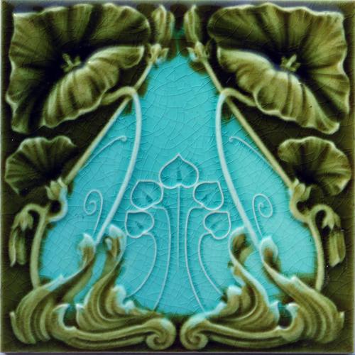 c.1905 Art Nouveau Floral Tile, John Barratt #2