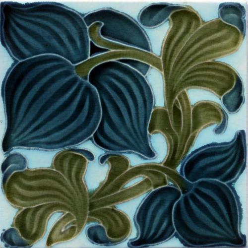 c.1900 English Art Nouveau Floral Tile, Pilkington #3