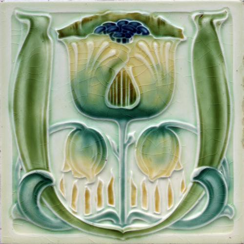 c.1900 English Art Nouveau Floral Relief Tile, Henry Richards #4