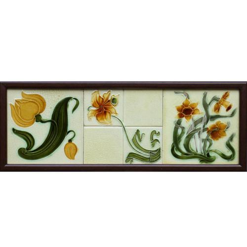 Three c.1905 English Art Nouveau Floral Tiles, incl. Barratt & Richards, Framed