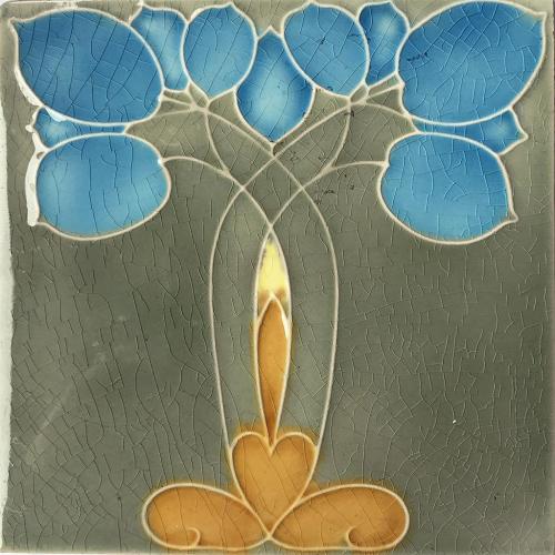 c.1910 Minton Hollins Art Nouveau Plant Tile