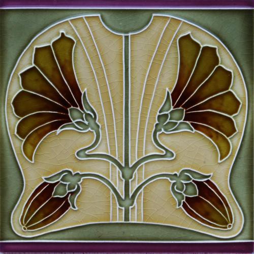 c.1900 German Art Nouveau Floral Tile, Tonwerk Offstein #4