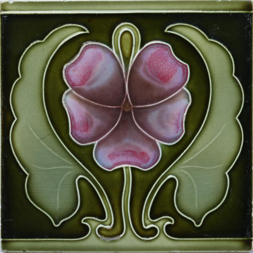 c.1900 German Art Nouveau Pansy Tile, Tonwerk Offstein #3