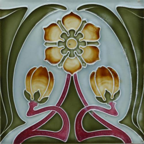 c.1900 German Art Nouveau Floral Tile, Tonwerk Offstein #5