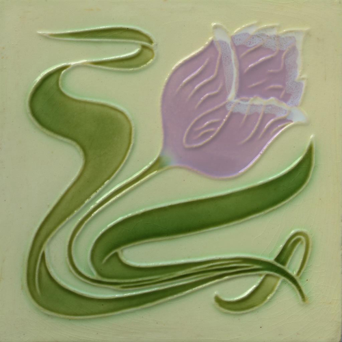 c.1900 Hasselt Belgium Art Nouveau Tulip Tile