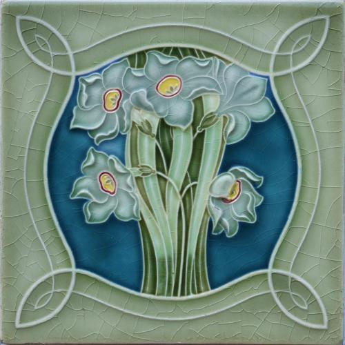 c.1900 German Art Nouveau Floral Tile, NSTG