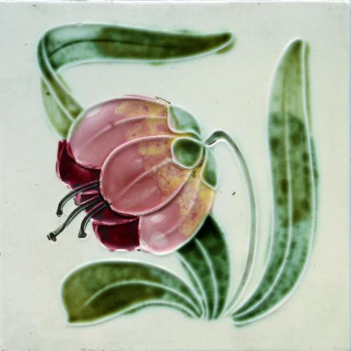 c.1910 Georg Schmider Art Nouveau Floral Tile #2