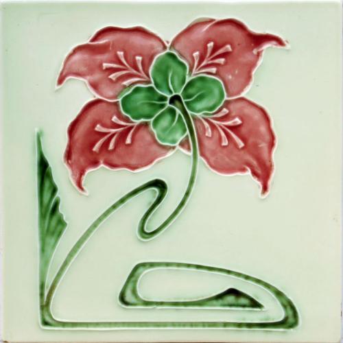 c.1910 Georg Schmider Art Nouveau Floral Tile
