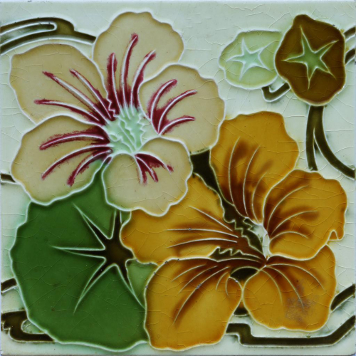c.1905 Art Nouveau Hydrangeas Tile, Hemixem Belgium