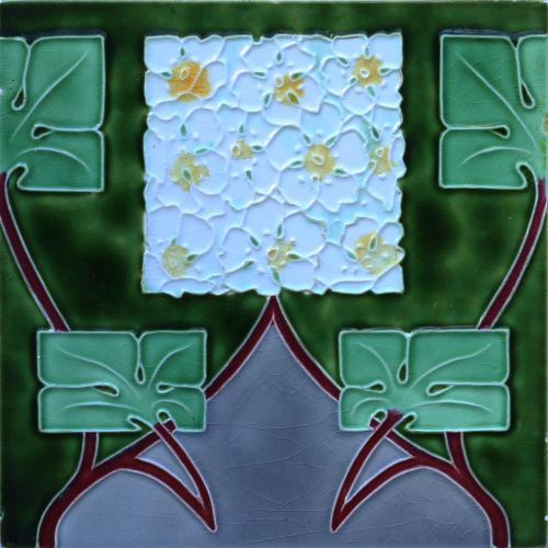 c.1910 Modernist Floral Tile, Wienerberger Austria