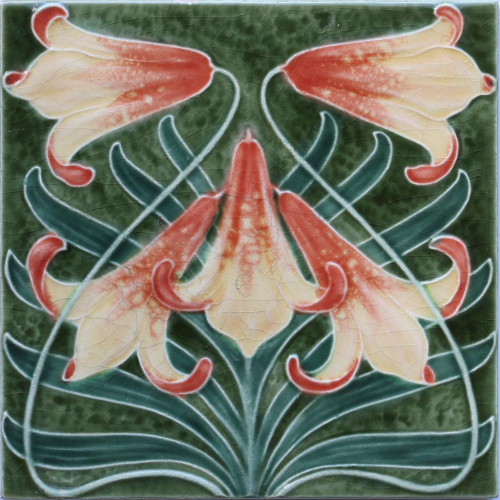 c.1905 Art Nouveau Lilies Tile, Utzschneider Sarregmünd
