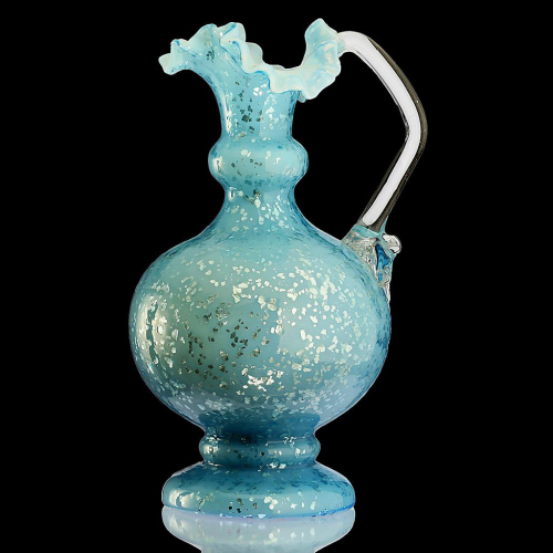 c.1885 Pale Blue Glass Jug Pitcher with Silver Foil Inclusions
