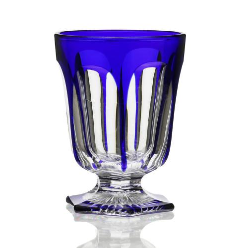 c.1880 Cobalt Overlay Glass Goblet