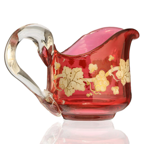 c.1880 Bohemian Miniature Hand Painted Cranberry Glass Jug Pitcher