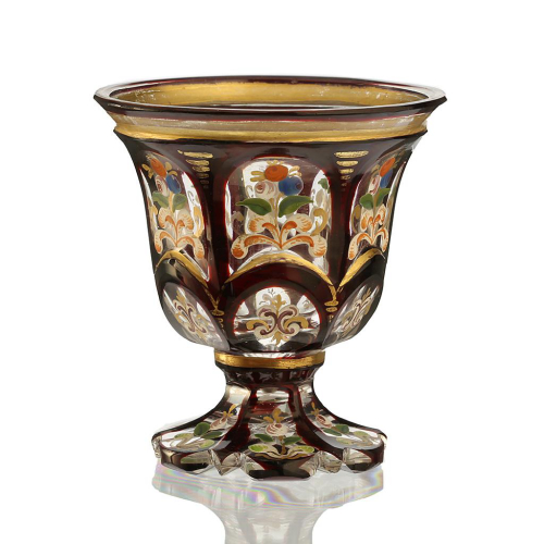 c.1880 Bohemian Miniature Enamelled Ruby Overlay Glass Vase