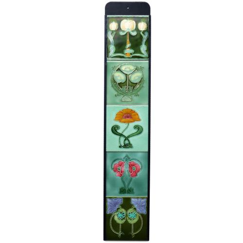 Five Art Nouveau Tiles in Bespoke Holder #3