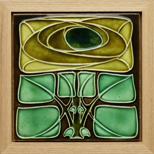 c.1905 Richards Art Nouveau Tile in the Mackintosh Style, Framed