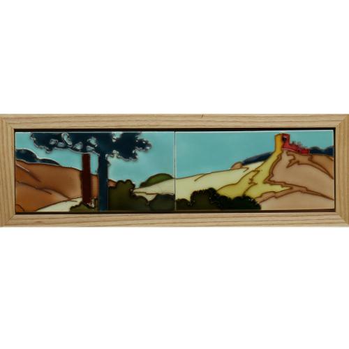 c.1910 Hemixem Art Nouveau Two Tile Vista Set, Framed
