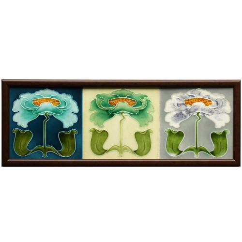 Three c.1905 English Art Nouveau Floral Tiles, John Barratt, Framed