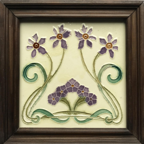 c.1910 French Art Nouveau Flowers Tile, Morialmé, Framed