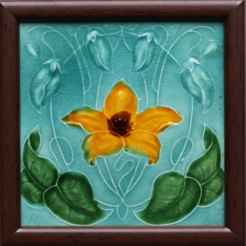 c.1900 English Art Nouveau Floral Tile, Framed