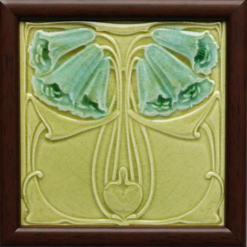 c.1905 English Art Nouveau Floral tile, Marsden, Framed
