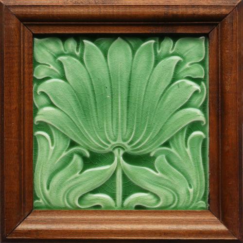 c.1890 Minton Hollins Art Nouveau Floral Tile, Framed