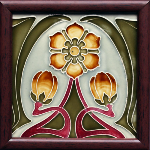 c.1900 German Art Nouveau Floral Tile, Tonwerk Offstein #5 Framed