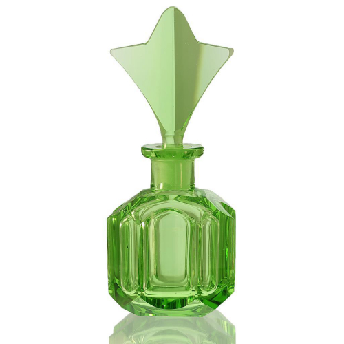 c.1930s Czech Deco Green Crystal Scent Perfume Bottle, Star Top