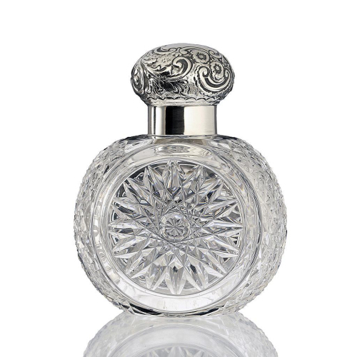 1898 Cut Crystal Dressing Table Scent Perfume Bottle, Silver Top