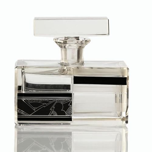 c.1930s Czech Art Deco Cut Crystal & Enamelled Scent Perfume Bottle