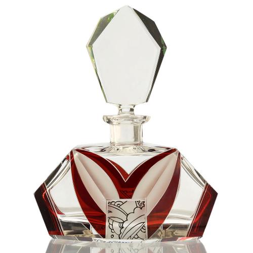 c.1930s Czech Art Deco Cut Crystal & Enamelled Scent Perfume Bottle #2