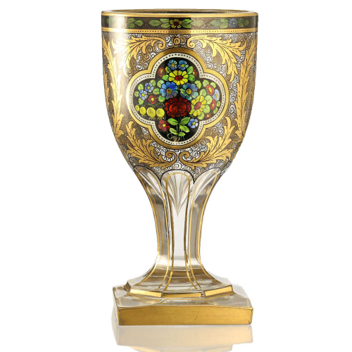 c.1915 Mühlhaus & Co. Haida Cold Enamelled Footed Glass Vase