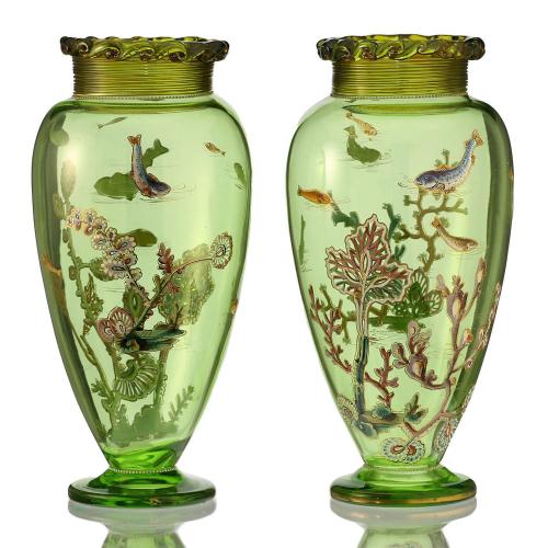 c.1900 Pair of Enamelled Fish & Aquatic Plant Glass Vases, Harrach