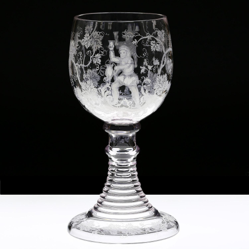 c.1880 Bohemian or German Figural Point Decorated Glass Römer Roemer