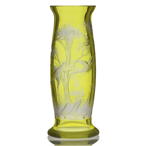 c.1910 Bohemian Flashed Citrine Glass Vase Engraved with Pheasants & Trees