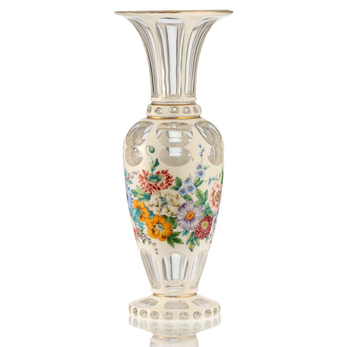 c.1900 Bohemian White Overlay to Clear Glass Floral Decorated Vase