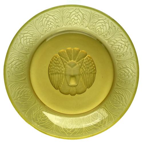 c.1930s Lemon Vaseline Uranium Moulded Glass dish with Lion's Head, Pukeberg