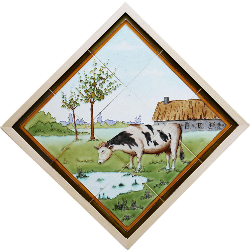 Rare c.1900 French Nine Tile Art Nouveau Bull & Farm Set, Framed