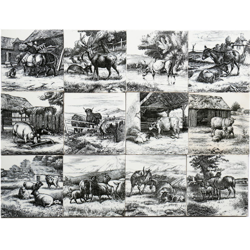 c.1879 Minton William Wise Complete Twelve Tile Farm Animals Set