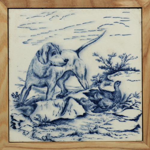 """c.1880 Wedgwood 8"""" Gun Dog & Game Bird Tile in Blue, Framed"""