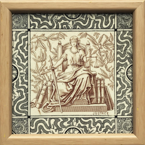 c.1880 Sherwin & Cotton Justice Tile, Framed