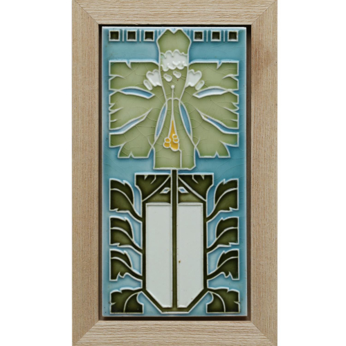 c.1905 Boizenburg German Art Nouveau Stylised Floral Tile, Framed