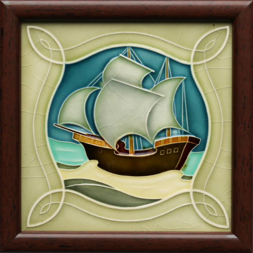 c.1905 NSTG German Art Nouveau Sailing Ship Tile, Framed